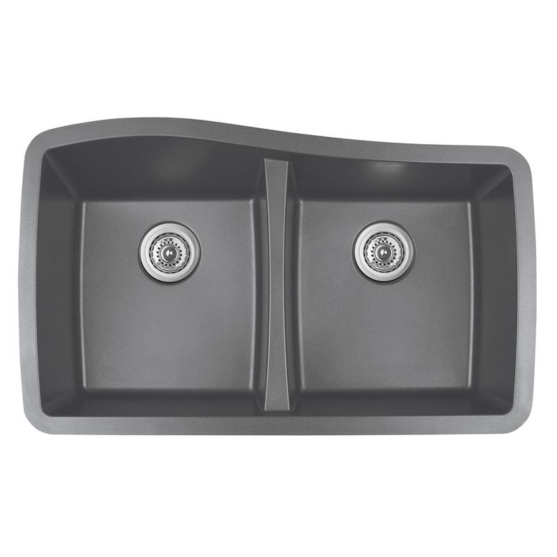 "Karran QU-720 GREY, 33-1/2"" x 20-1/2"" Quartz Undermount Kitchen Sink Double Bowl, Grey :: Image 10"