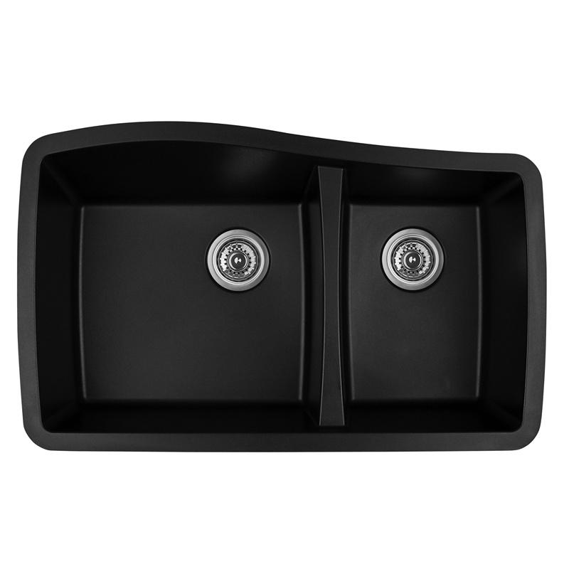 "Karran QU-721 BLACK, 33-1/2"" x 20-5/8"" Quartz Undermount Kitchen Sink Double Bowl, Black :: Image 10"