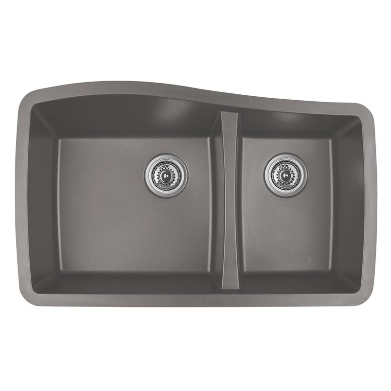 """Karran QU-721 CONCRETE, 33-1/2"""" x 20-5/8"""" Quartz Undermount Kitchen Sink Double Bowl, Concrete :: Image 10"""