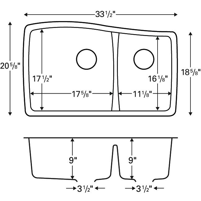 "Karran QU-721 BLACK, 33-1/2"" x 20-5/8"" Quartz Undermount Kitchen Sink Double Bowl, Black :: Image 20"