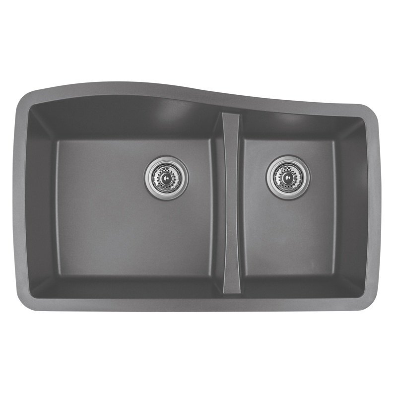 "Karran QU-721 GREY, 33-1/2"" x 20-5/8"" Quartz Undermount Kitchen Sink Double Bowl, Grey :: Image 10"