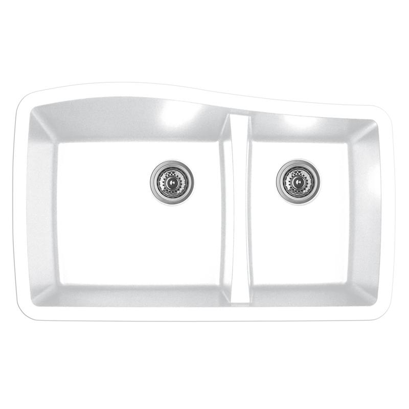"""Karran QU-721 WHITE, 33-1/2"""" x 20-5/8"""" Quartz Undermount Kitchen Sink Double Bowl, White :: Image 10"""