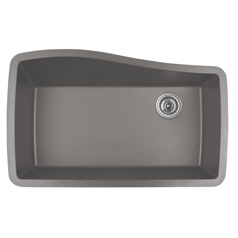"""Karran QU-722 CONCRETE, 33-1/2"""" x 21"""" Quartz Undermount Kitchen Sink Single Bowl, Concrete :: Image 10"""