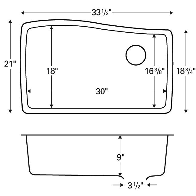 "Karran QU-722 GREY, 33-1/2"" x 21"" Quartz Undermount Kitchen Sink Single Bowl, Grey :: Image 20"