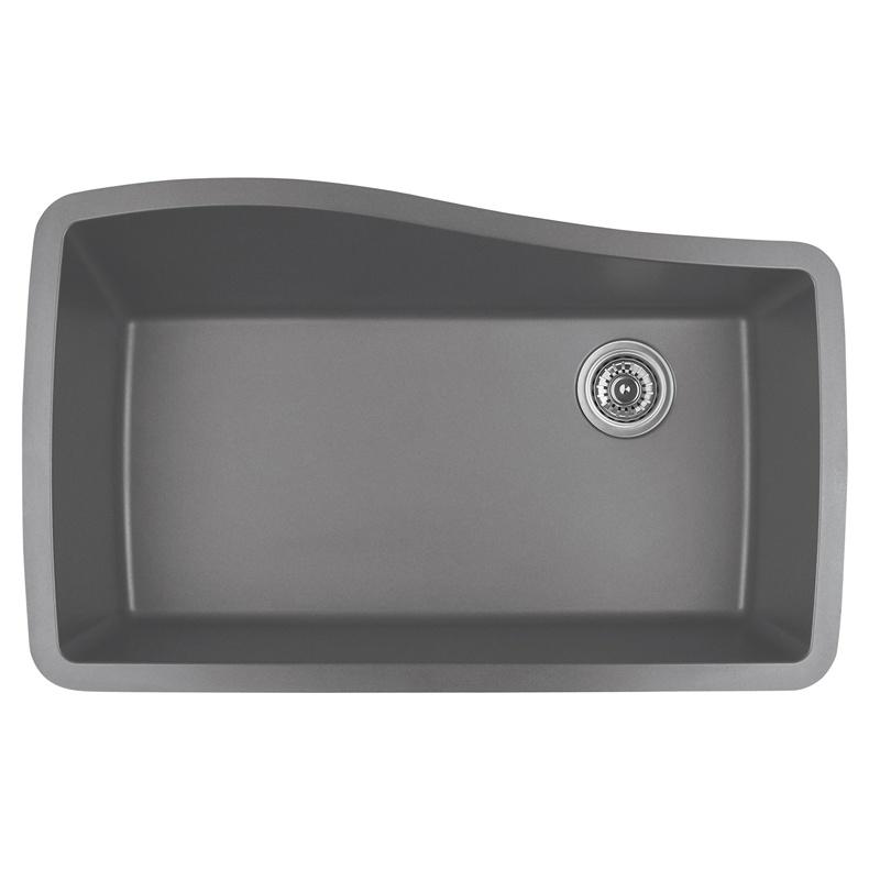 "Karran QU-722 GREY, 33-1/2"" x 21"" Quartz Undermount Kitchen Sink Single Bowl, Grey :: Image 10"