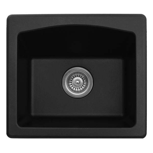 "Karran QX680-BLACK, 18"" x 16"" Quartz Sink Dual Mount Style Single Bar Bowl, Black :: Image 10"