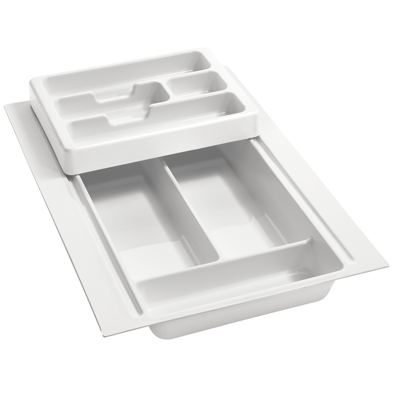 "11-3/4"" to 14-1/2"" 2-Tiered Cutlery Drawer Insert, Plastic, Glossy White, Rev-A-Shelf RT 12-3H :: Image 10"