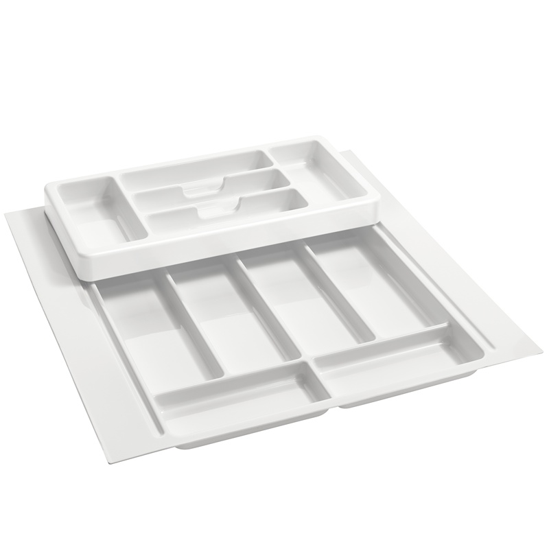 """21-3/4"""" 2-Tiered Cutlery Drawer Insert, Plastic, White, Rev-A-Shelf RT 18-3H :: Image 10"""