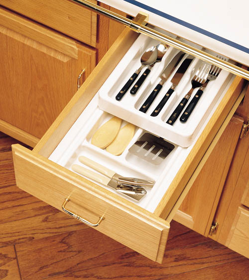 "8-3/4"" to 11-3/4"" 2-Tiered Cutlery Drawer Insert, Plastic, White, Rev-A-Shelf RT 10-4F :: Image 20"