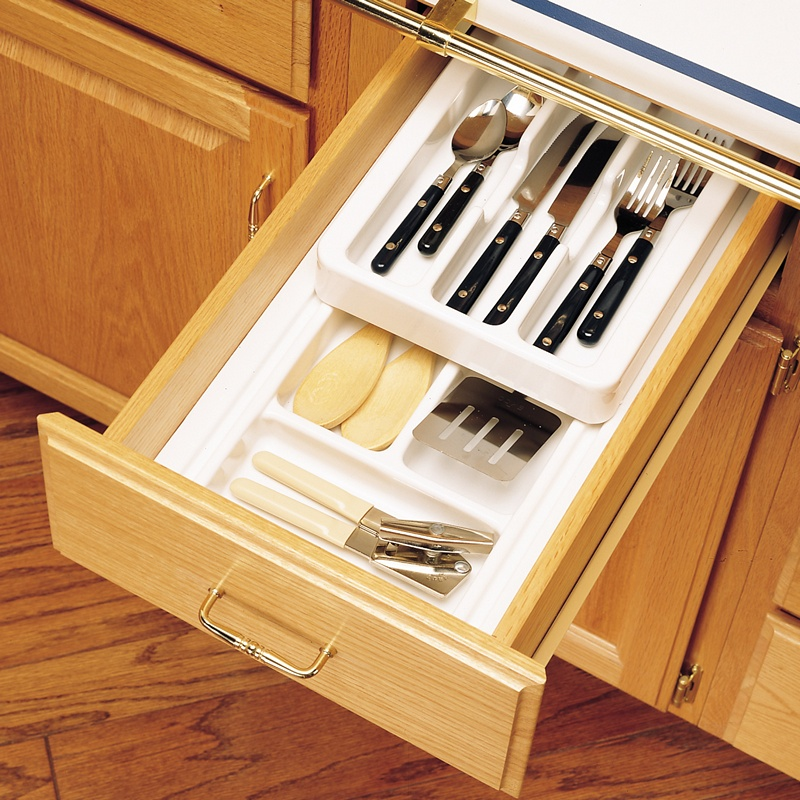 """8-3/4"""" to 11-3/4"""" 2-Tiered Cutlery Drawer Insert, Plastic, White, Rev-A-Shelf RT 10-4H :: Image 20"""
