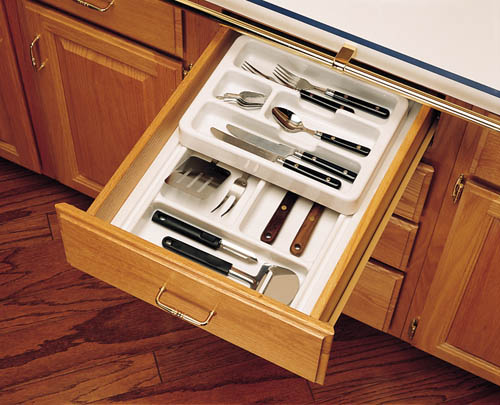 """11-3/4"""" to 14-1/2"""" 2-Tiered Cutlery Drawer Insert, Plastic, Glossy White, Rev-A-Shelf RT 12-3F :: Image 20"""