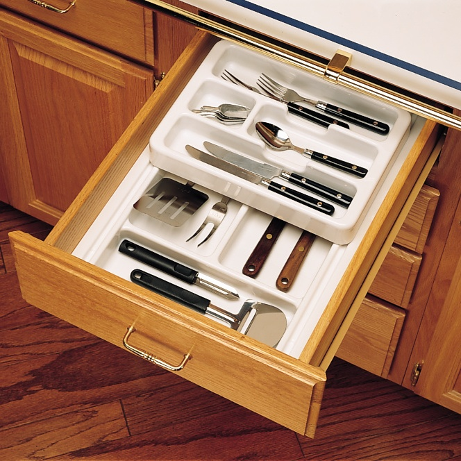 """11-3/4"""" to 14-1/2"""" 2-Tiered Cutlery Drawer Insert, Plastic, Glossy White, Rev-A-Shelf RT 12-4H :: Image 20"""