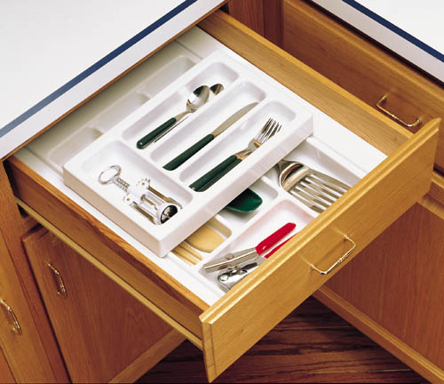 """17-3/4"""" 2-Tiered Cutlery Drawer Insert, Plastic, White, Rev-A-Shelf RT 14-3F :: Image 30"""