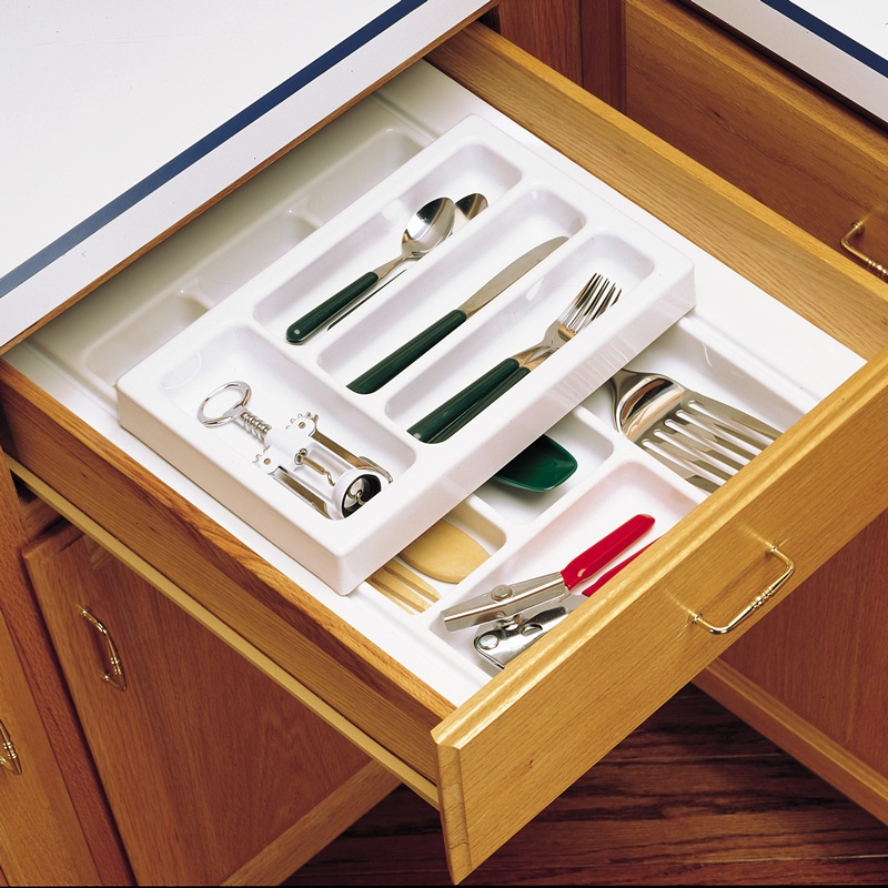 """17-3/4"""" 2-Tiered Cutlery Drawer Insert, Plastic, White, Rev-A-Shelf RT 14-4H :: Image 30"""