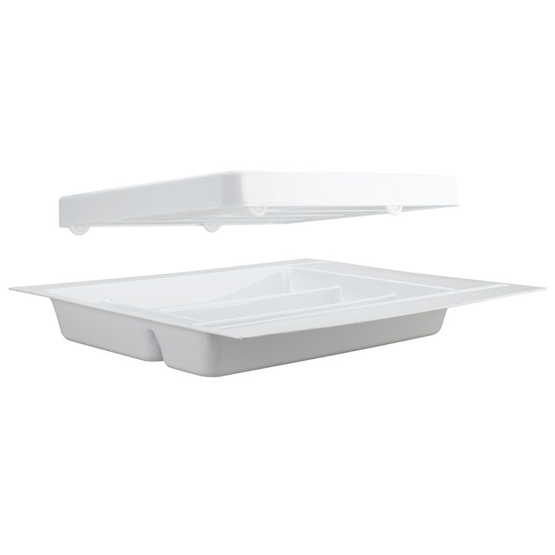 """21-3/4"""" 2-Tiered Cutlery Drawer Insert, Plastic, White, Rev-A-Shelf RT 18-3H :: Image 30"""