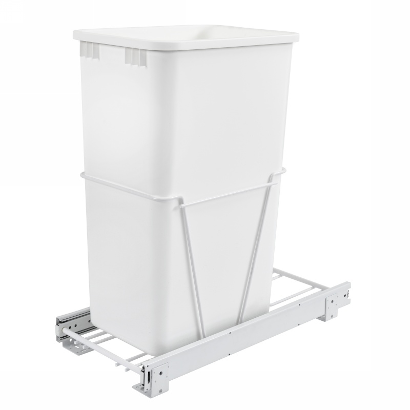 Rev-A-Shelf RV-12PB-50 S, 50 Qt., Bottom Mount Trash Pull-Out, Full Ext Slides, White :: Image 10