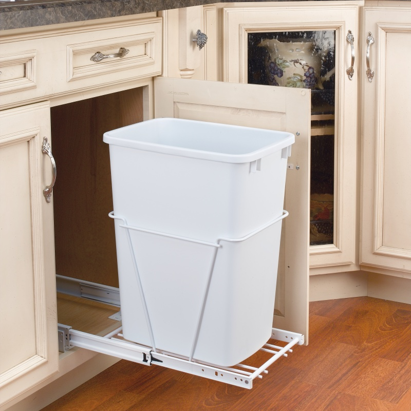 Rev-A-Shelf RV-12PB-50 S, 50 Qt., Bottom Mount Trash Pull-Out, Full Ext Slides, White :: Image 20