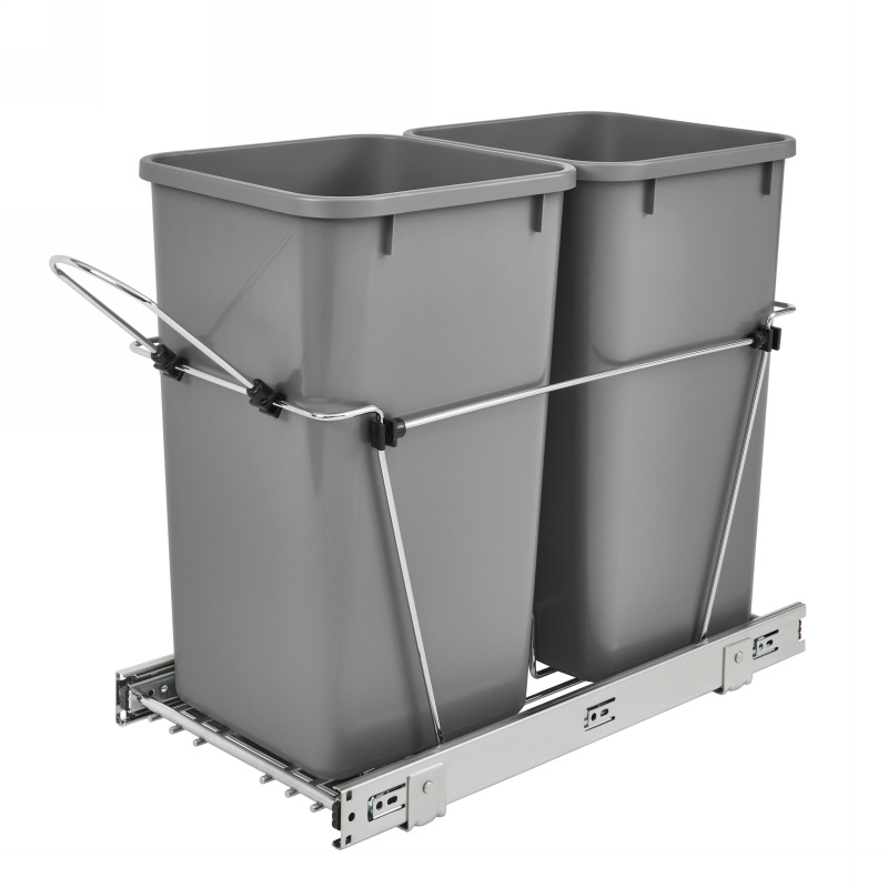 Rev-A-Shelf RV-15KD-17C S Double 27 Qt. Trash Pull-Out Bottom Mount, Full Ext Slides, Silver :: Image 10