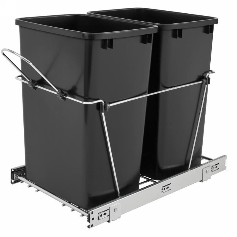 Rev-A-Shelf RV-18KD-18C S Double 35 Qt., Bottom Mount Trash Pull-Out, Full Ext Slides, Black :: Image 10
