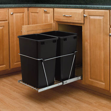 Rev-A-Shelf RV-18KD-18C S Double 35 Qt., Bottom Mount Trash Pull-Out, Full Ext Slides, Black :: Image 20