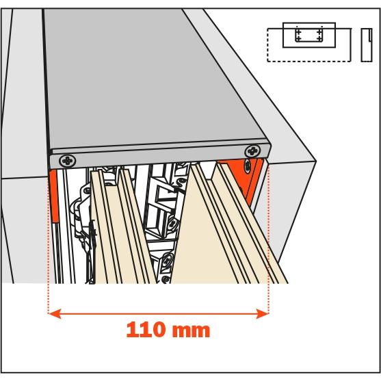 Salice Pocket Door Lateral Kit 110mm for Cabinet Depth 650-900mm, YE55KIT0004 :: Image 10