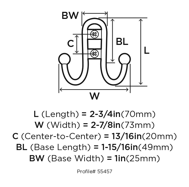 Amerock H55457-GW, Double Prong Robe Hook White Silver, :: Image 10