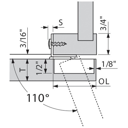 Blum 130.1160 110 Degree Compact 33 Side Mount Face Frame Plate, 1-5/8 Overlay :: Image 20