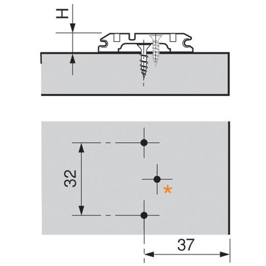 Blum 173L6100 0mm Wing Plate, Adj Height, Screw-on :: Image 20