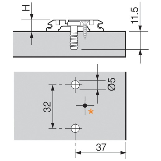 Blum 173L8130 3mm Wing Plate, Adj Height, Pre-mounted 5mm System Screw :: Image 20