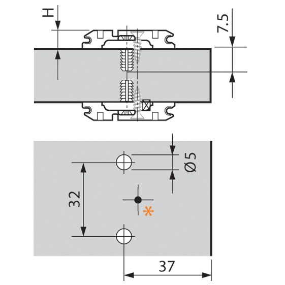 Blum 174E610Z 0mm Wing Plate for Twin Application, Adj Height, Expando Dowels :: Image 10