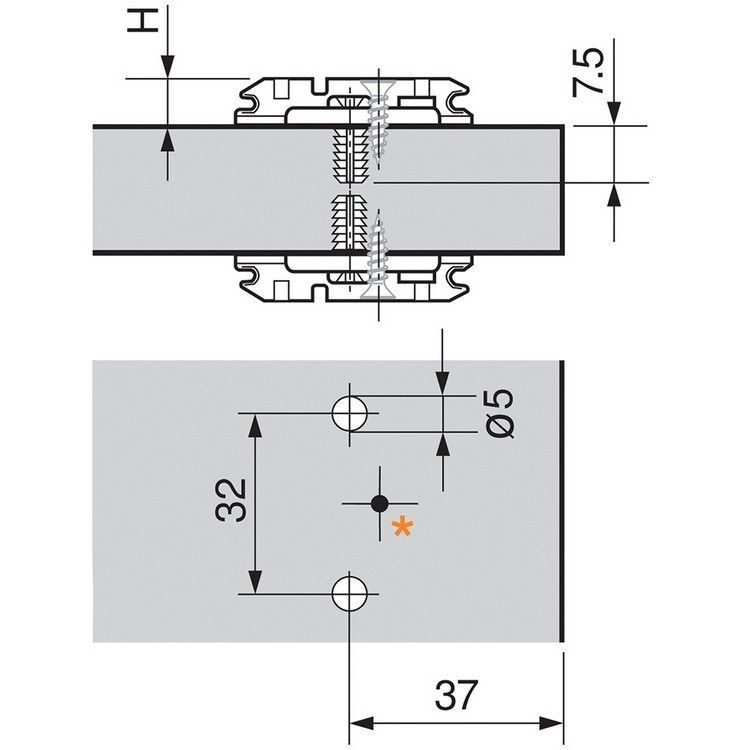 Blum 174H710ZE 0mm Wing Plate for Twin Application, Cam Adj Height, Expando Dowels :: Image 10