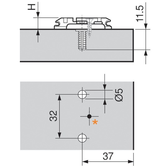 Blum 174H7130E 3mm Wing Plate for Twin Application, Cam Adj Height, Expando Dowels :: Image 10