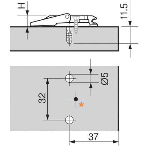 Blum 174H7100I 0mm Wing Plate, Cam Adj Height, Inserta :: Image 10