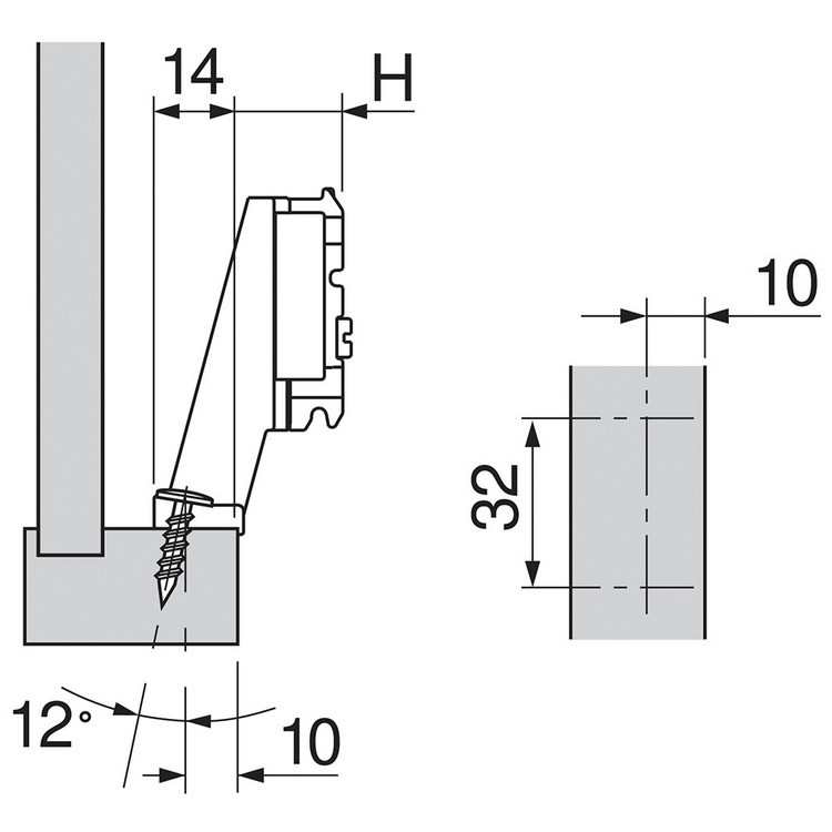 Blum 175H5030.21 9mm Inset Face Frame Adapter Plate, Cam Adj Height, Screw-on * :: Image 40