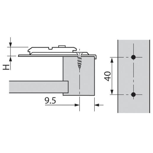 Blum 175H6000 0mm Face Frame Adapter Plate, Cam Adj Height, Center Mount, Screw-on :: Image 40