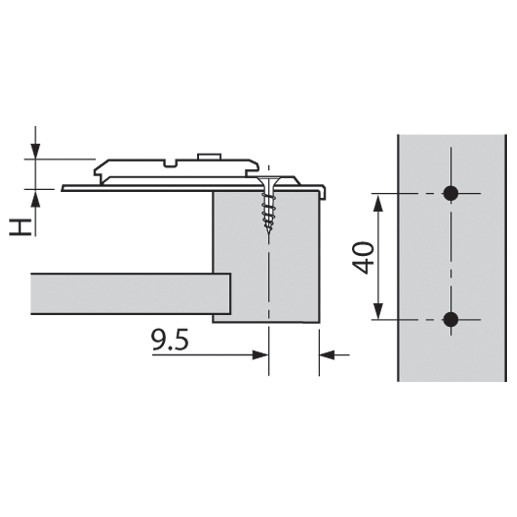 Blum 175H6040 4.5mm Face Frame Adapter Plate, Cam Adj Height, Center Mount, Screw-on :: Image 40