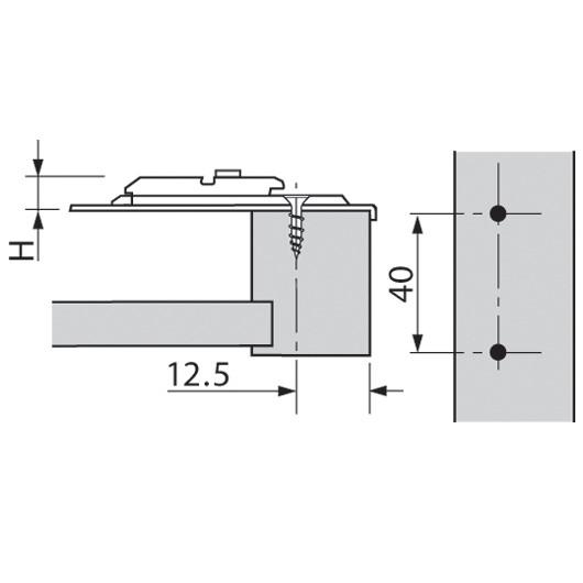 Blum 175H6600 0mm Face Frame Adapter Plate, Cam Adj Height, Off Center Mount, Screw-on :: Image 20