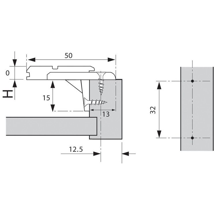 Blum 175L6600.24 0mm Face Frame Adapter Plate with Flange, Adj Height, Screw-on :: Image 30