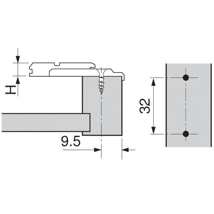 Blum 175L6600.22 0mm Face Frame Adapter Plate, Adj Height, Off Center Mount, Screw-on :: Image 10