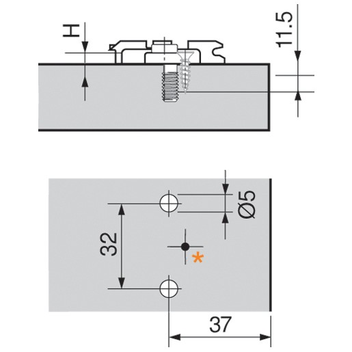 Blum 175L8100 0mm Wing Plate, Pre-mounted 5mm System Screw :: Image 10