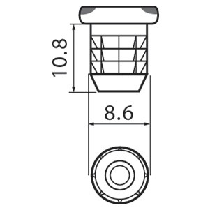 Blum 70T558201 8.6mm X 12mm Dowel with Square Head, Press-In :: Image 20
