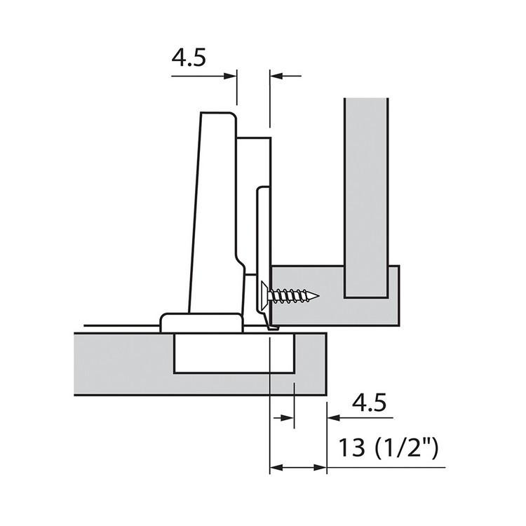 Blum 73B3550 110 Degree Plus BLUMOTION Hinge, Soft-Close, Full Overlay, Screw-on :: Image 160
