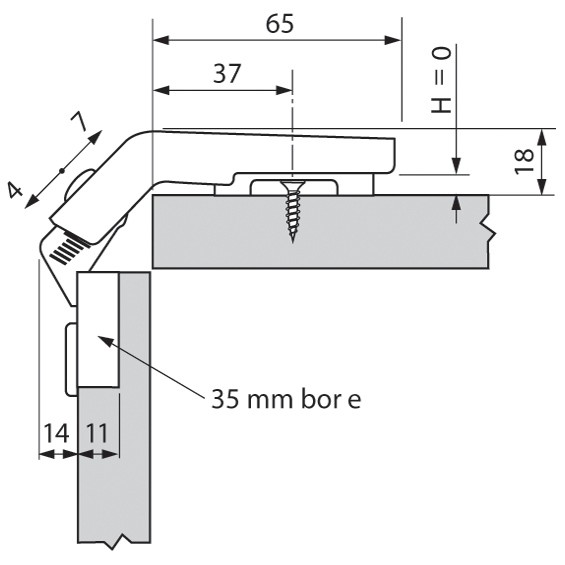 Blum 79T8530.10 60 Degree CLIP Top Bi-Fold Hinge, Self-Close, Dowel :: Image 60
