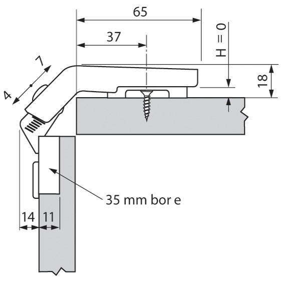 Blum 79T8500.10 60 Degree CLIP Top Bi-Fold Hinge, Self-Close, Screw-on :: Image 160