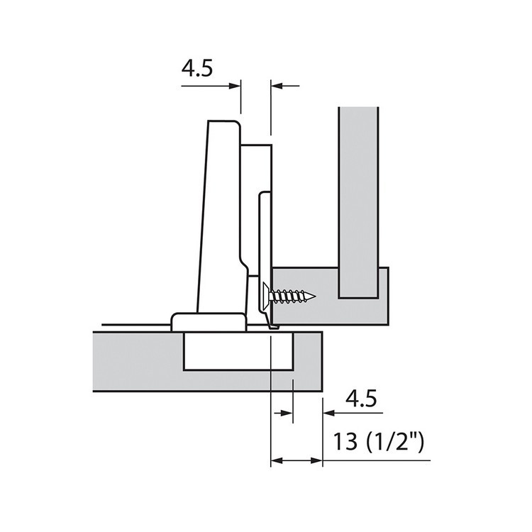 Blum 73T3550 110 Degree Plus CLIP Top Hinge, Self-Close, Full Overlay, Screw-on :: Image 160