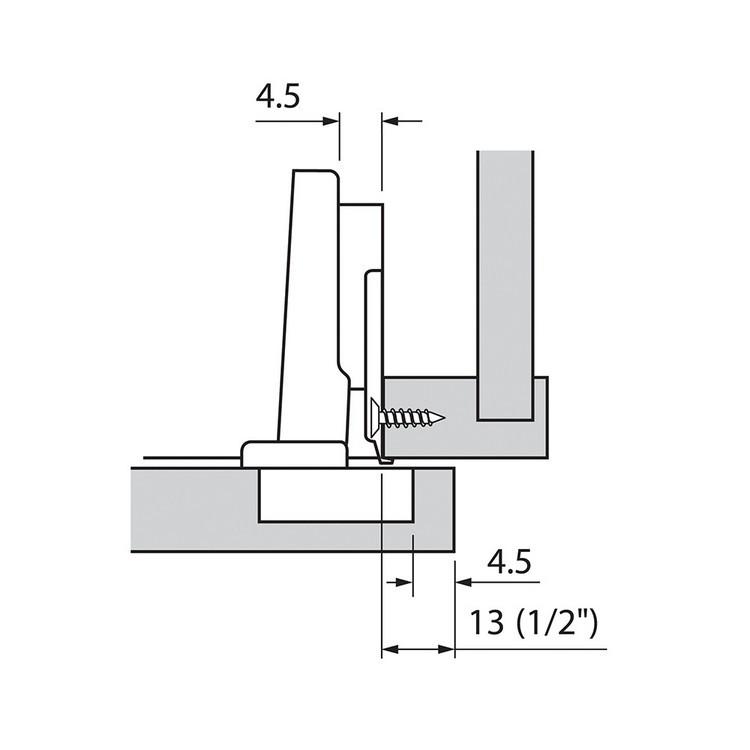 Blum 73T3580 110 Degree Plus CLIP Top Hinge, Self-Close, Full Overlay, Dowel :: Image 140