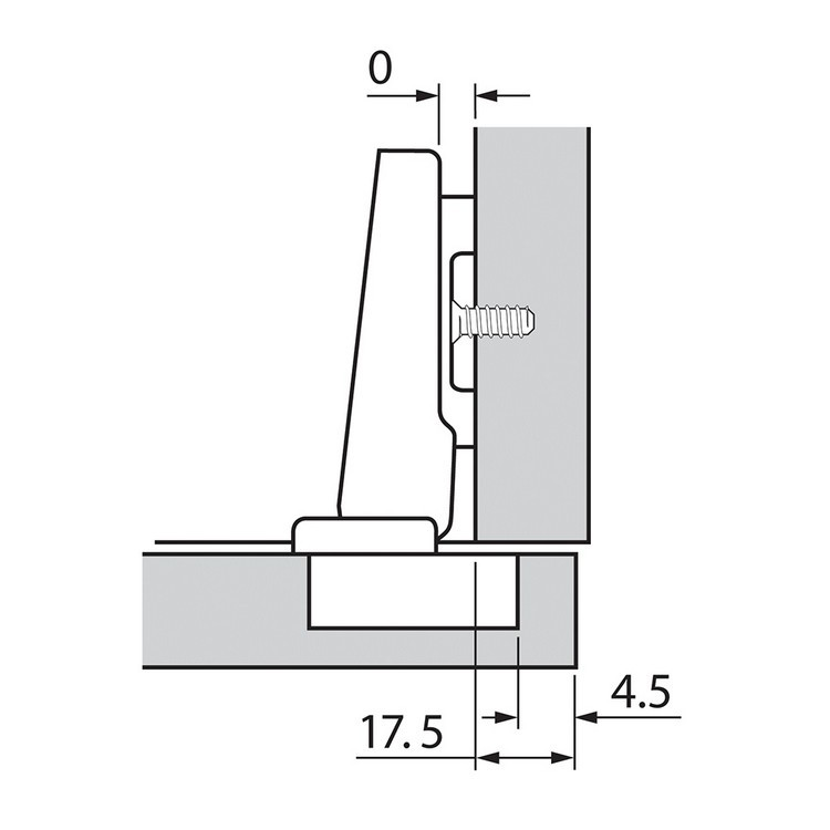 Blum 73T3550 110 Degree Plus CLIP Top Hinge, Self-Close, Full Overlay, Screw-on :: Image 150