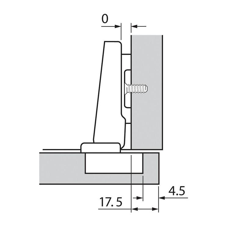 Blum 72T3580.TL 110 Degree Plus CLIP Top Hinge, Free Swing, Full Overlay, Dowel :: Image 150