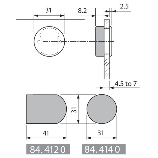 Blum 844140CR Round Cover Cap, Chrome Plated for Glass Door Hinges :: Image 30