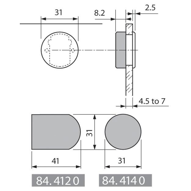 Blum 844140S Round Cover Cap, Black for Glass Door Hinges :: Image 30